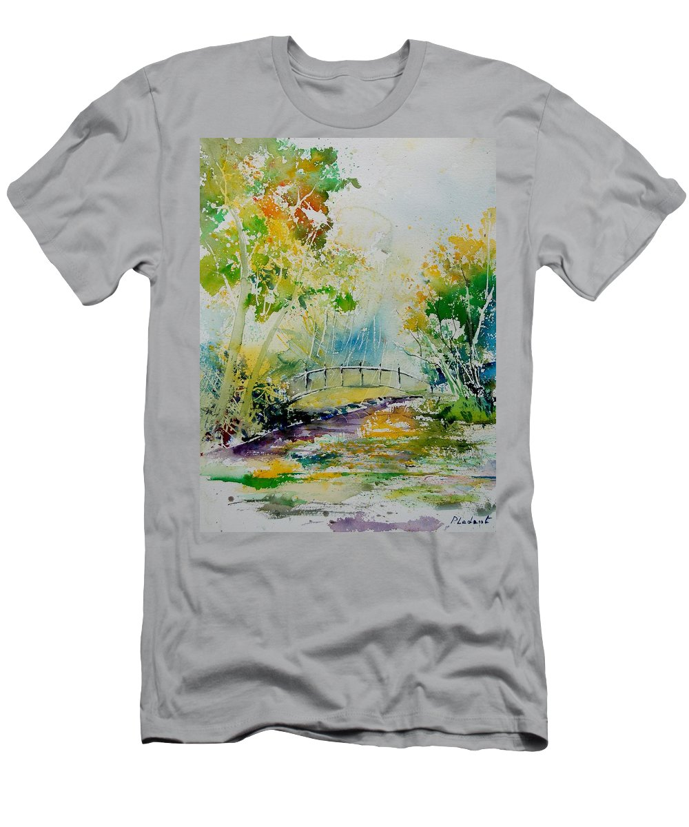 Water Men's T-Shirt (Athletic Fit) featuring the painting Watercolor 908020 by Pol Ledent