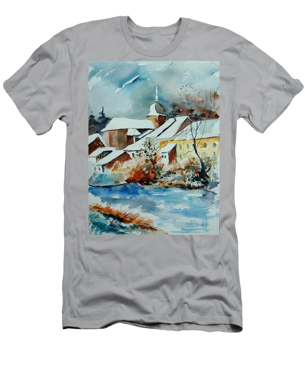 Landscape Men's T-Shirt (Athletic Fit) featuring the painting Watercolor Chassepierre by Pol Ledent