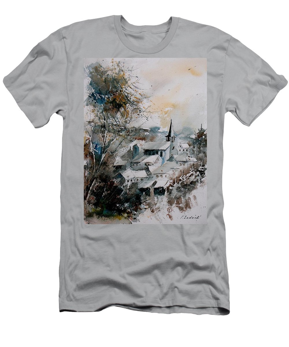 Winter Men's T-Shirt (Athletic Fit) featuring the painting Watercolor Houyet by Pol Ledent