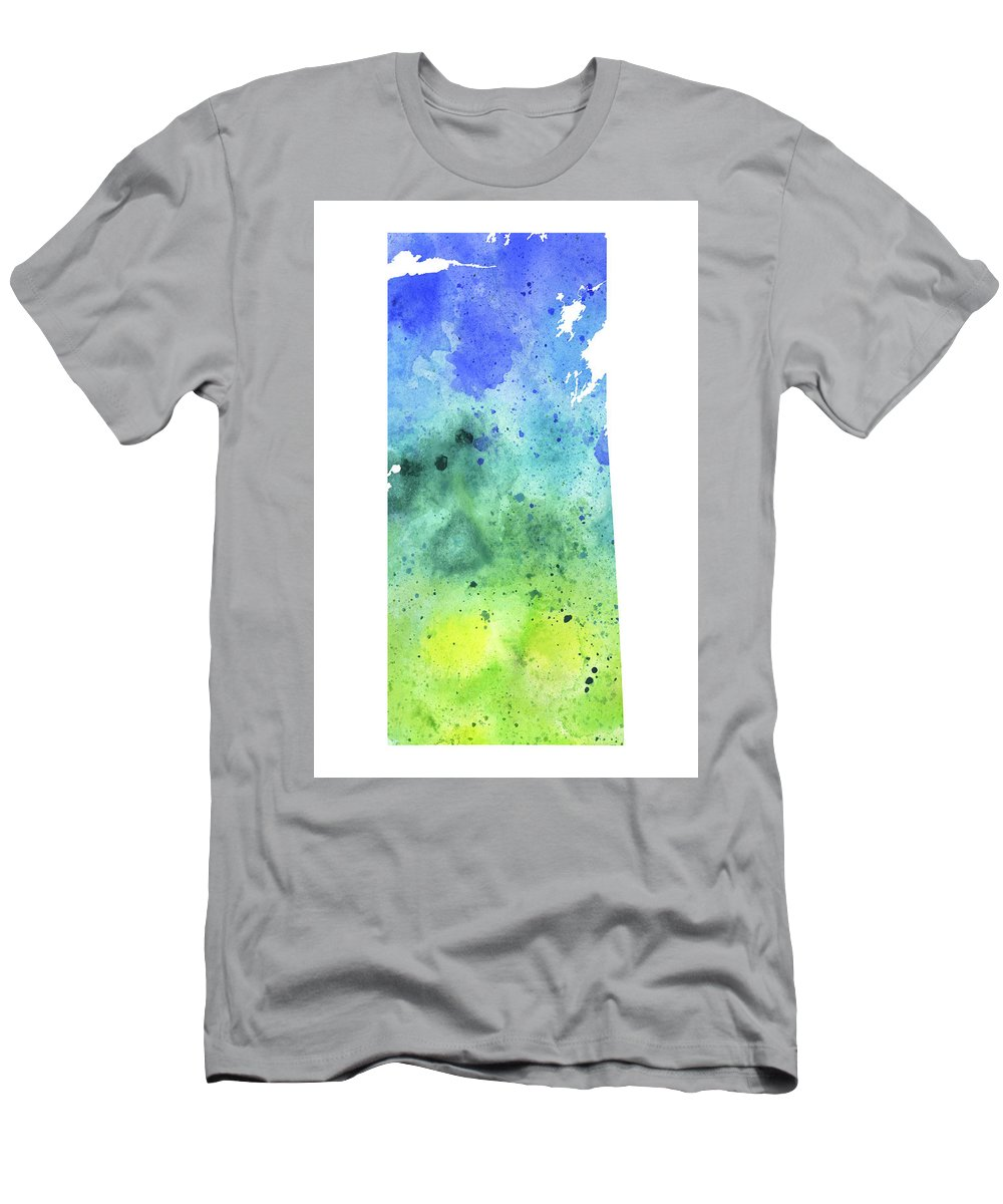 Canada Men's T-Shirt (Athletic Fit) featuring the painting Watercolor Map Of Saskatchewan, Canada In Blue And Green by Andrea Hill
