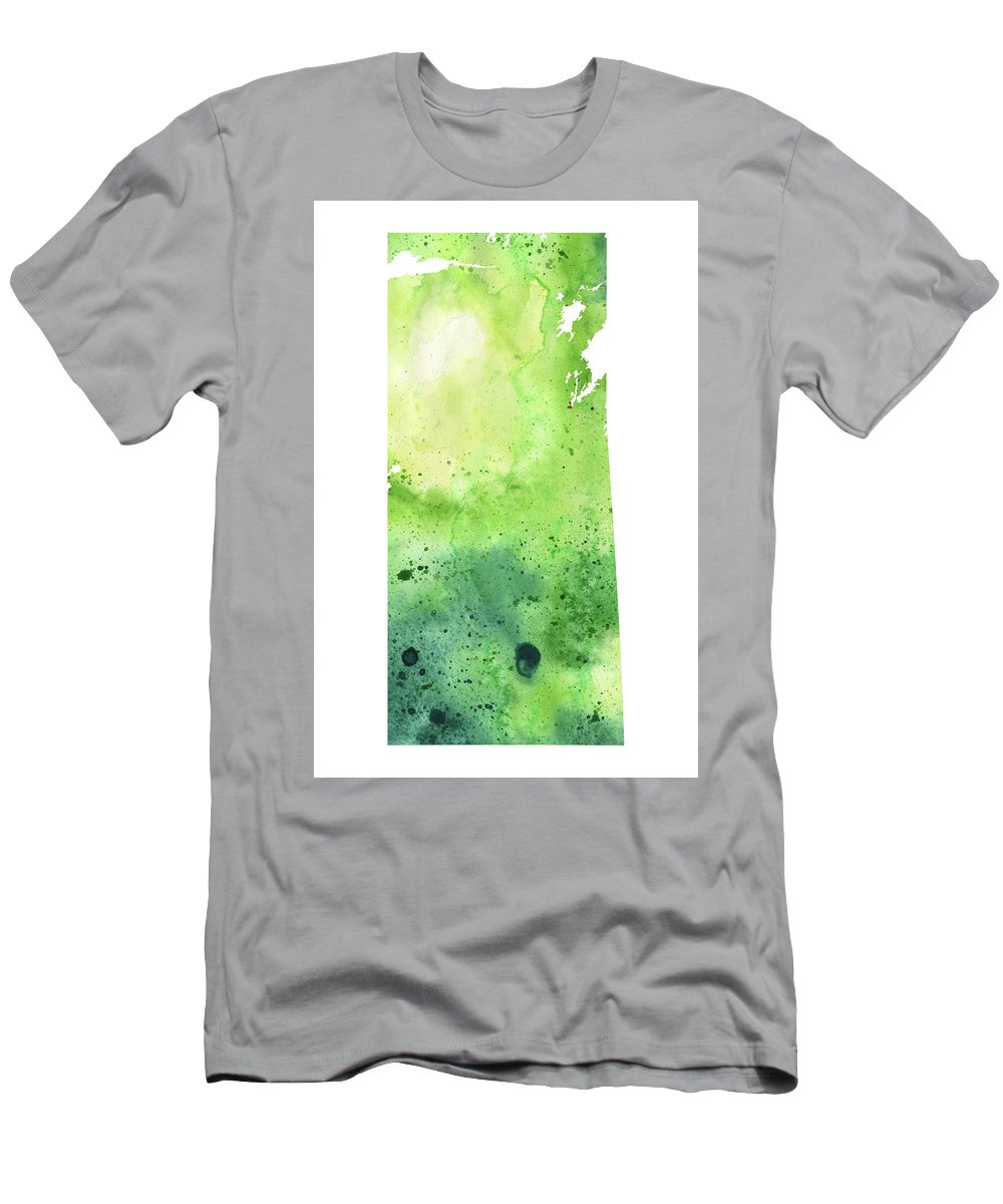 Canada Men's T-Shirt (Athletic Fit) featuring the painting Watercolor Map Of Saskatchewan, Canada In Green by Andrea Hill