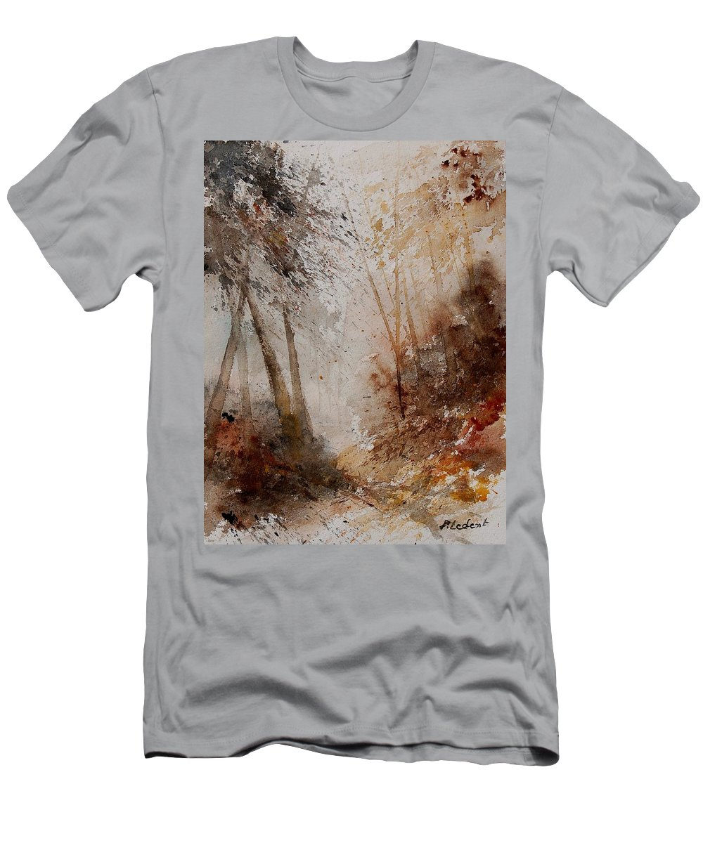 Landscape Men's T-Shirt (Athletic Fit) featuring the painting Watercolor Misty Path by Pol Ledent
