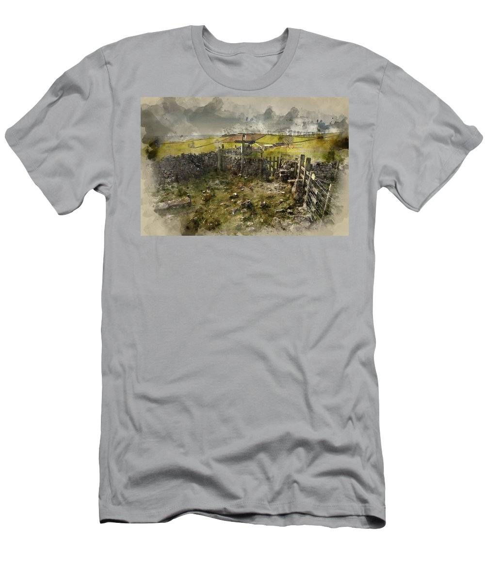Landscape Men's T-Shirt (Athletic Fit) featuring the photograph Watercolor Painting Of Public Footpath Signposts In Landscape In by Matthew Gibson