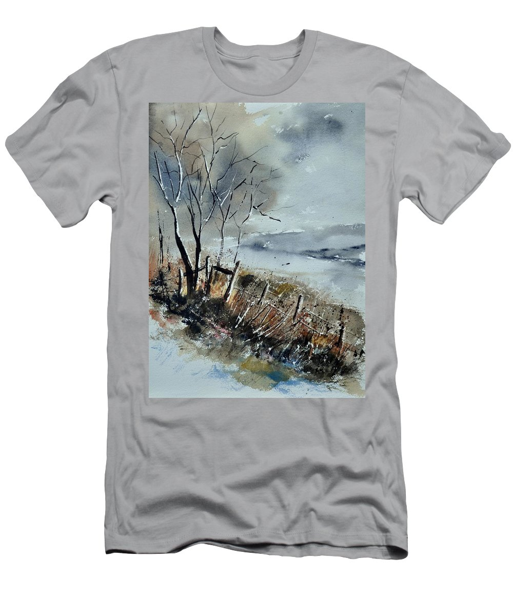 Landscape Men's T-Shirt (Athletic Fit) featuring the painting Watercolor by Pol Ledent
