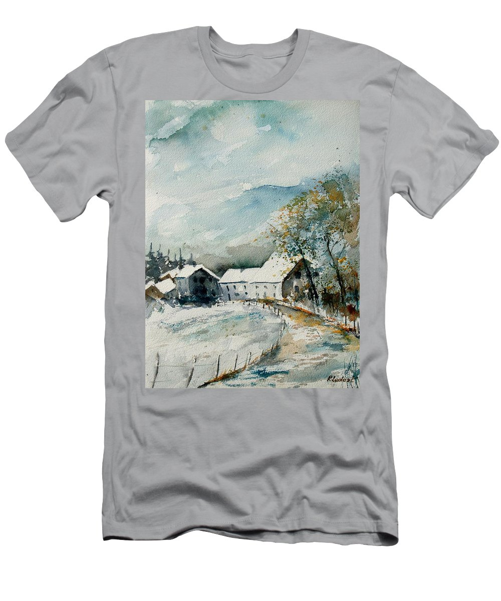 River T-Shirt featuring the painting Watercolor Sechery 1207 by Pol Ledent