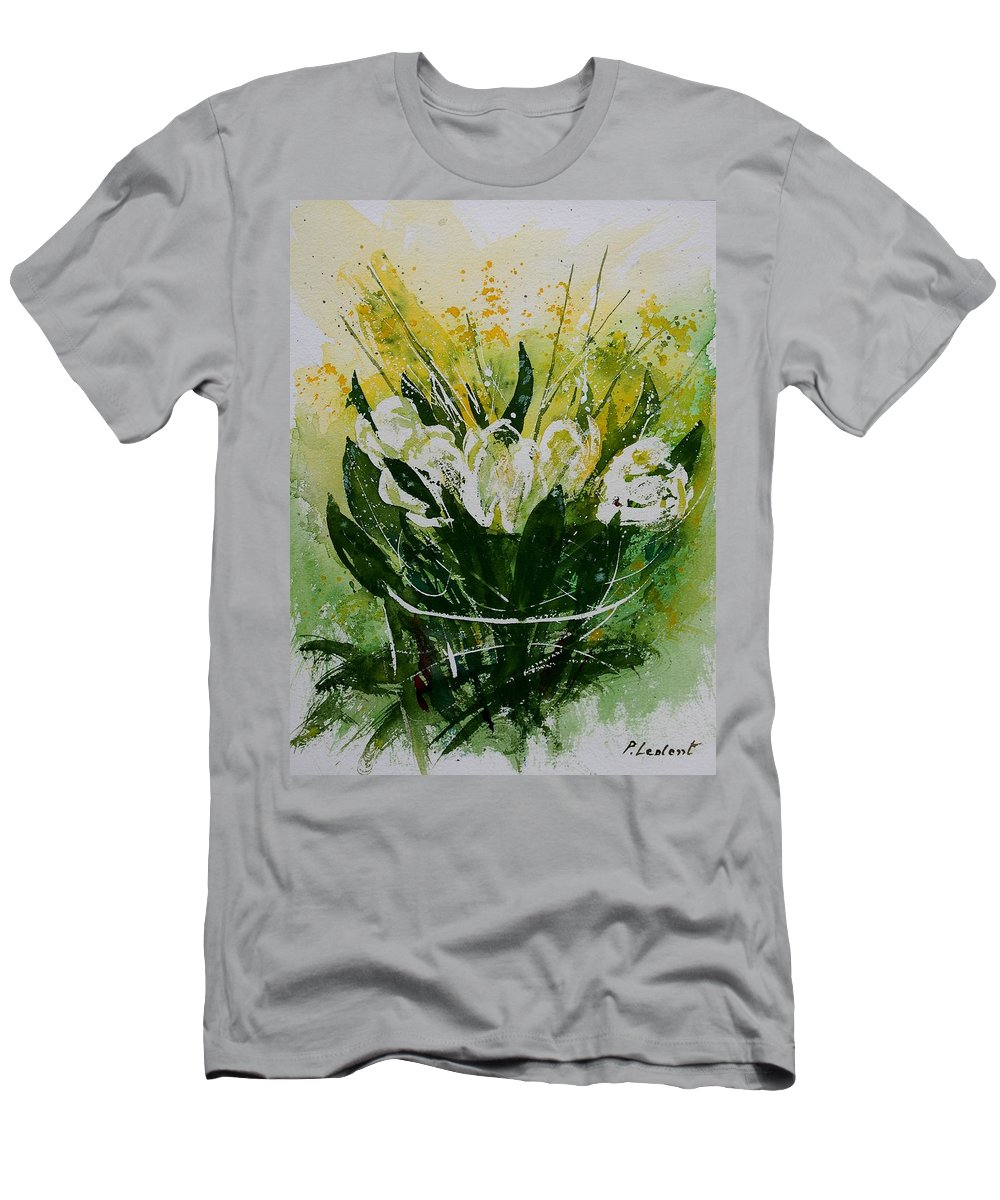 Flowers Men's T-Shirt (Athletic Fit) featuring the painting Watercolor Tulips by Pol Ledent
