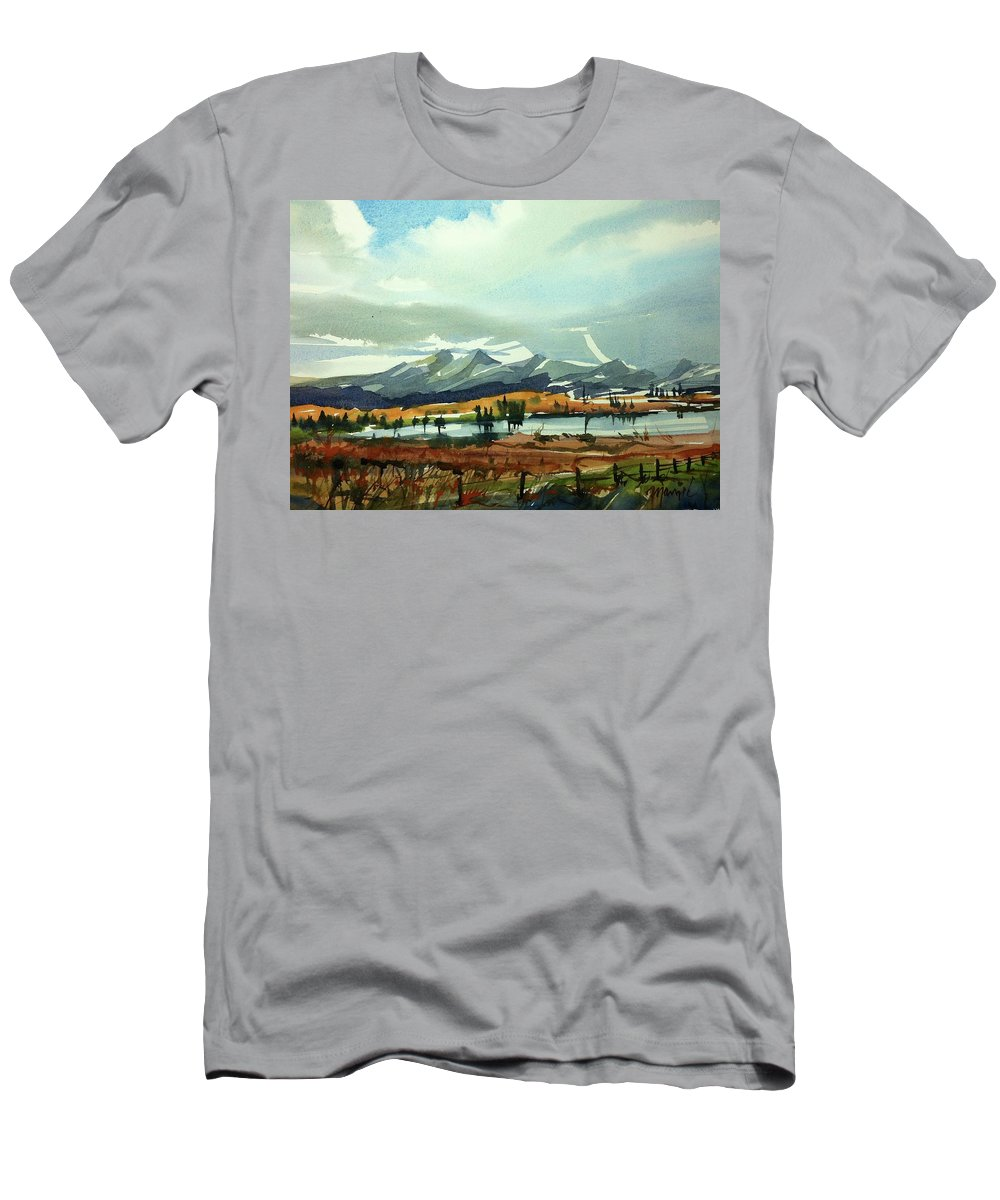 Colorado Landscape Men's T-Shirt (Athletic Fit) featuring the painting Watercolor3574 by Ugljesa Janjic