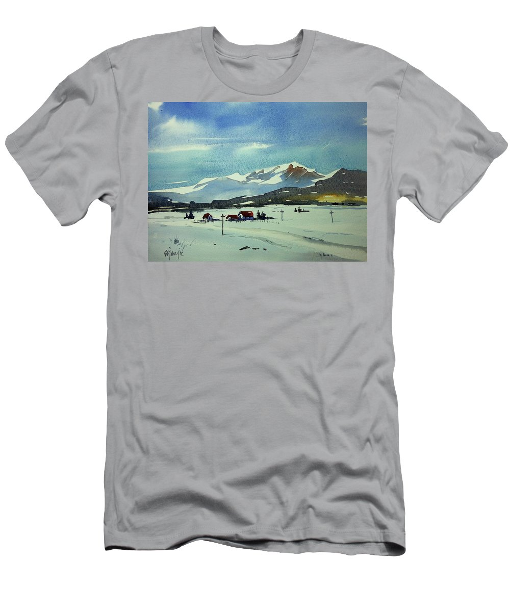 Colorado Landscape Winter Men's T-Shirt (Athletic Fit) featuring the painting Watercolor3597 by Ugljesa Janjic