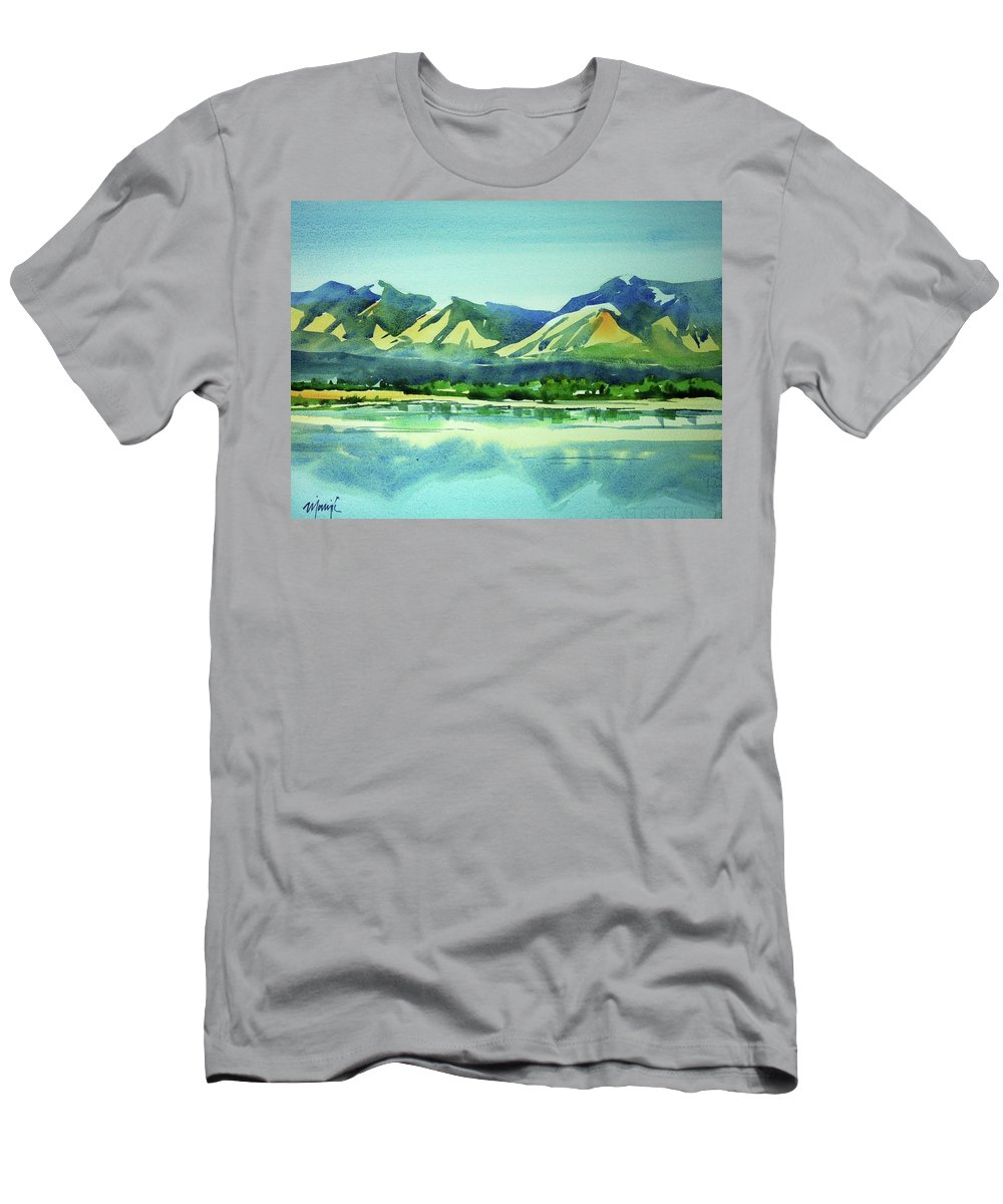 Colorado Landscape Men's T-Shirt (Athletic Fit) featuring the painting Watercolor4469 by Ugljesa Janjic