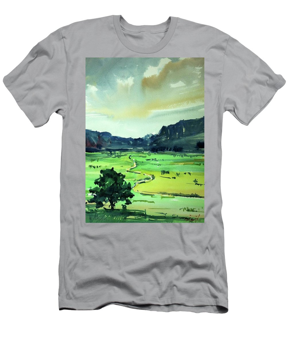 Colorado Landscape Men's T-Shirt (Athletic Fit) featuring the painting Watercolor4612 by Ugljesa Janjic