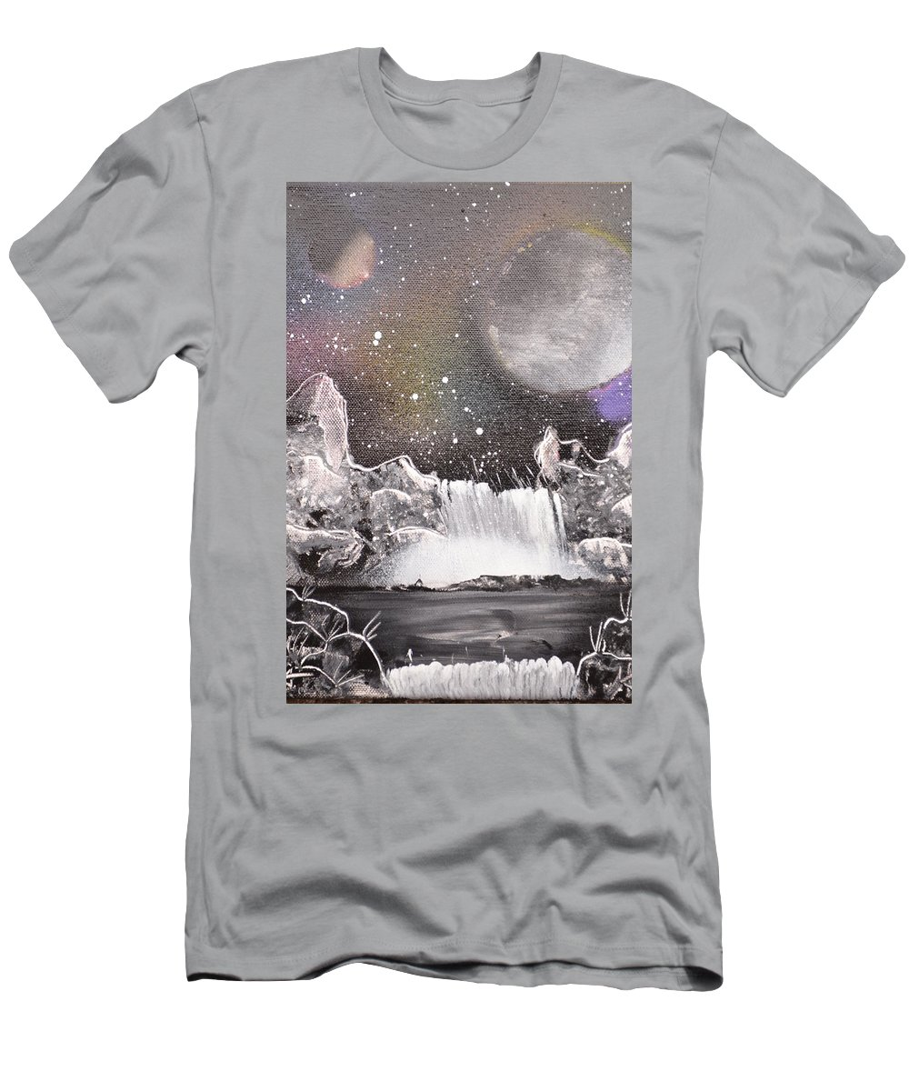 Planets Men's T-Shirt (Athletic Fit) featuring the painting Waterfalls At Night by Zack Anderson