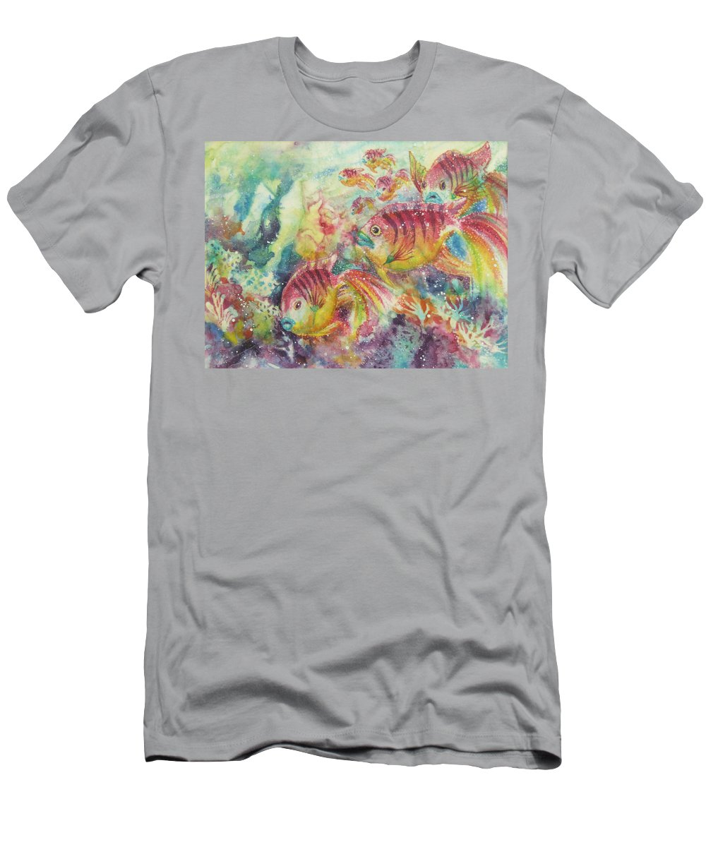Fish Men's T-Shirt (Athletic Fit) featuring the painting Watery World 2 by Deborah Younglao