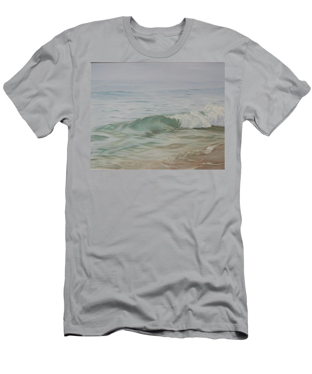 Seascape T-Shirt featuring the painting Waves out of the Fog by Lea Novak