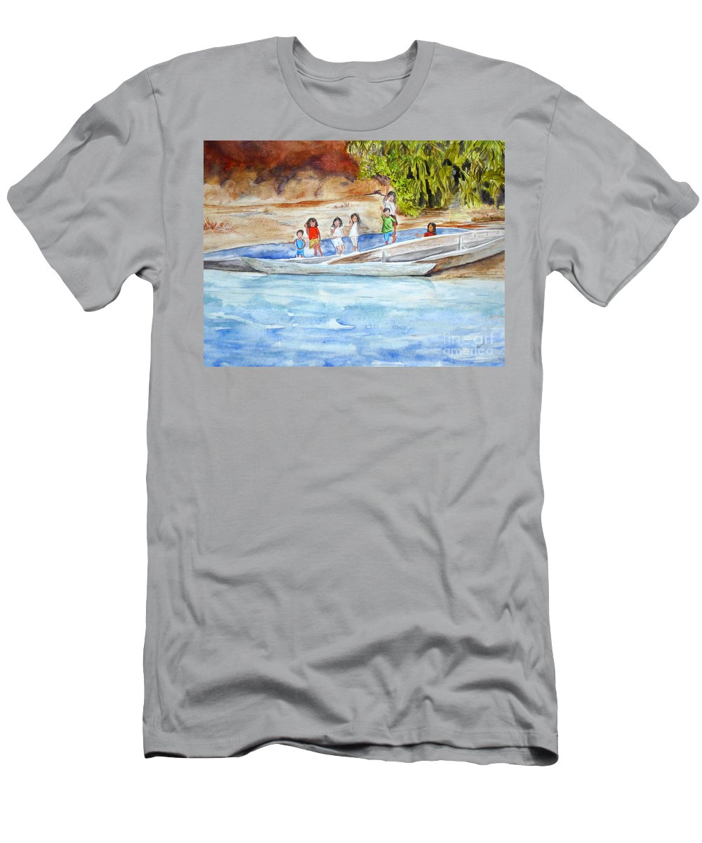 Children Men's T-Shirt (Athletic Fit) featuring the painting Waving To Tourist by Vicki Housel