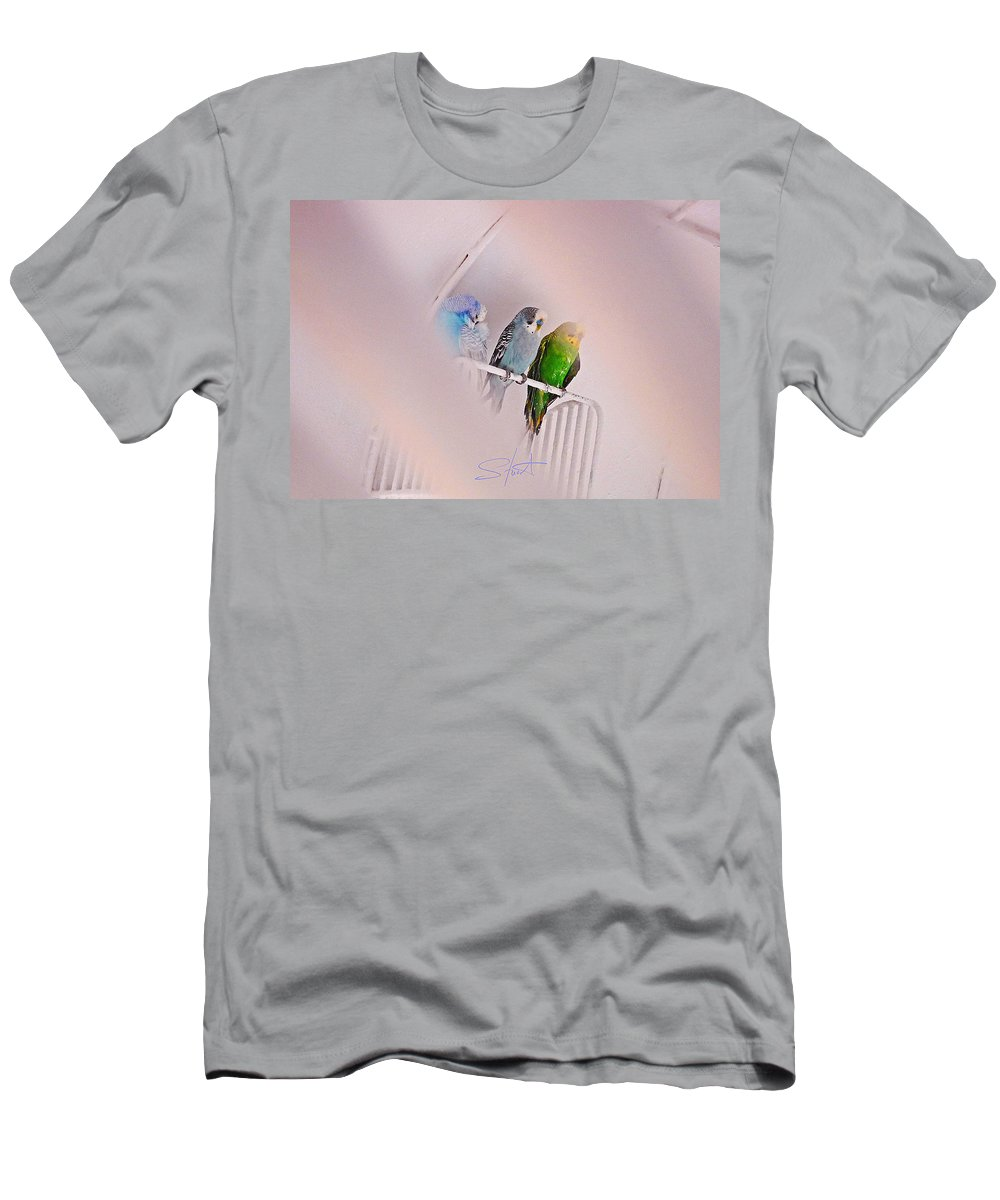 Birds Men's T-Shirt (Athletic Fit) featuring the photograph We Three Birds by Charles Stuart