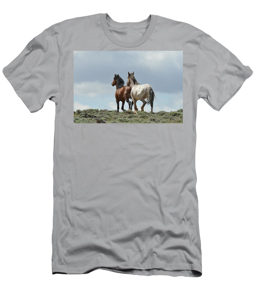 Wild Horses T-Shirt featuring the photograph We Will Be Over the Hill in a Few Seconds by Frank Madia