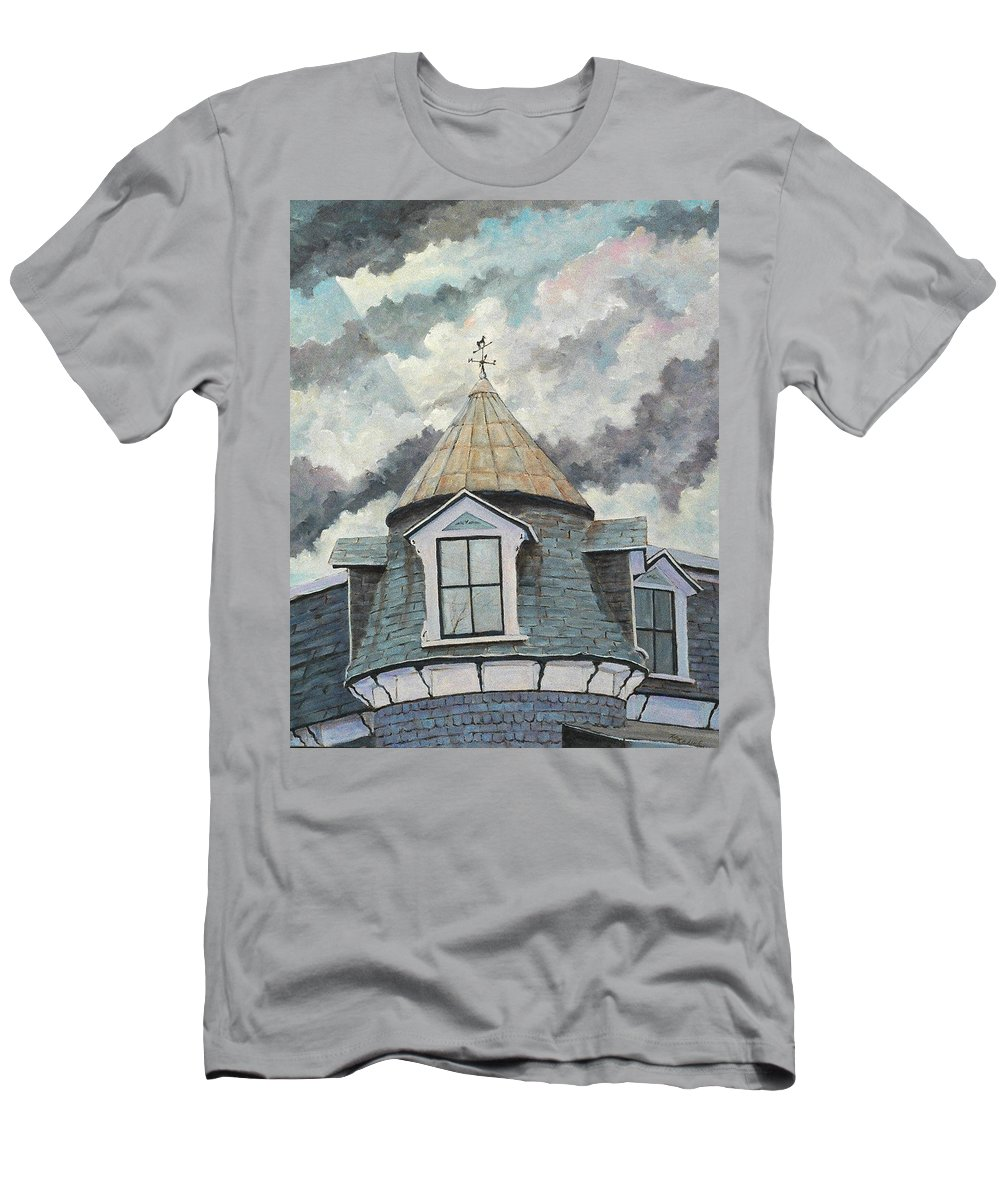 Urban Scene Men's T-Shirt (Athletic Fit) featuring the painting Weather Vane by Richard T Pranke