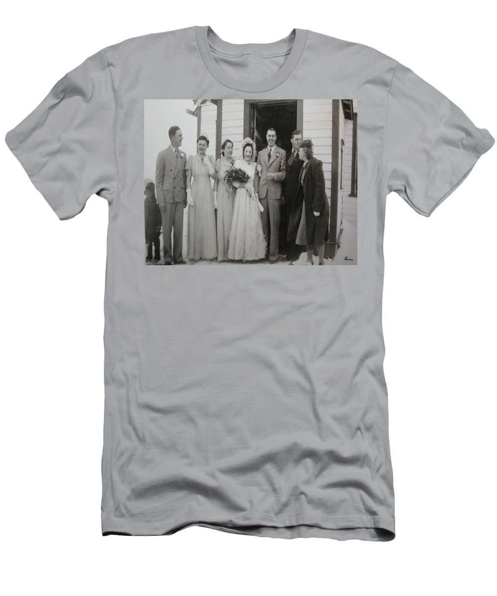 Classic Wedding Old Fashioned 1950s Wedding Dress Bride Groom Church Black And White Old Photographs Men's T-Shirt (Athletic Fit) featuring the photograph Wedding Bells by Andrea Lawrence