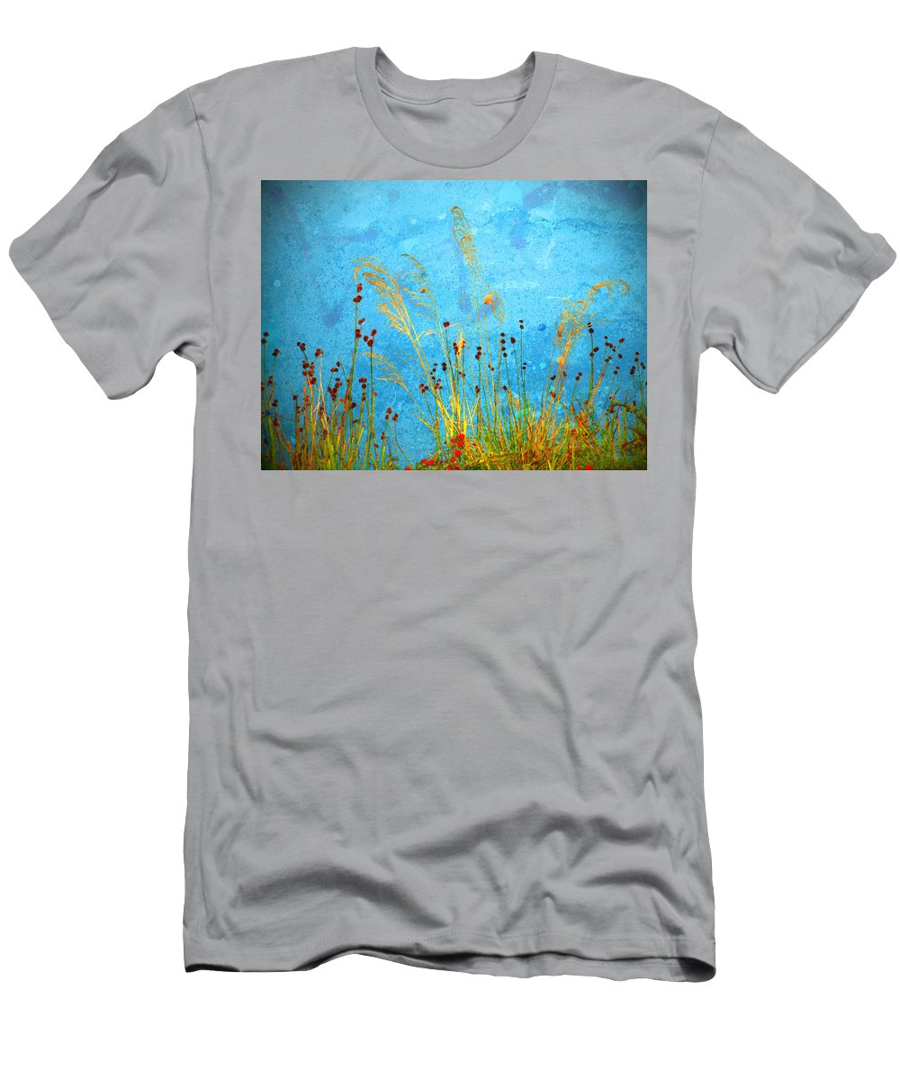 Weeds Men's T-Shirt (Athletic Fit) featuring the photograph Weeds And Water by Tara Turner