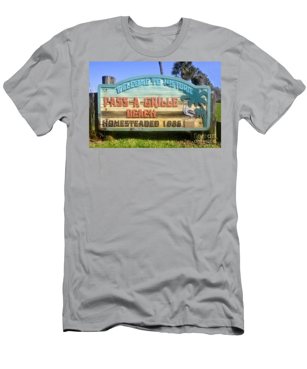 Pass A Grille Beach Florida Men's T-Shirt (Athletic Fit) featuring the photograph Welcome Sign by David Lee Thompson