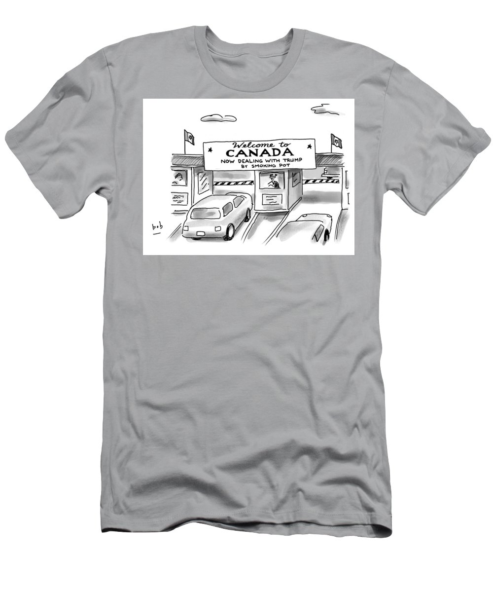 Welcome To Canada T-Shirt featuring the drawing Welcome To Canada by Bob Eckstein