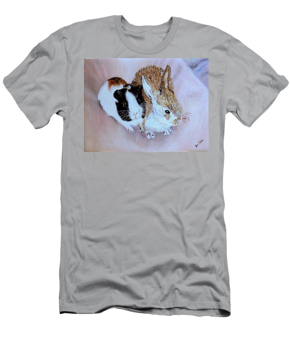 Pets Men's T-Shirt (Athletic Fit) featuring the painting Wendy And Bobby by Helmut Rottler