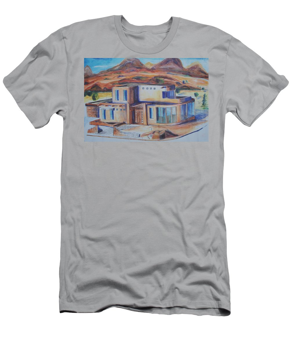 Floral Men's T-Shirt (Athletic Fit) featuring the painting Western Home Illustration by Eric Schiabor