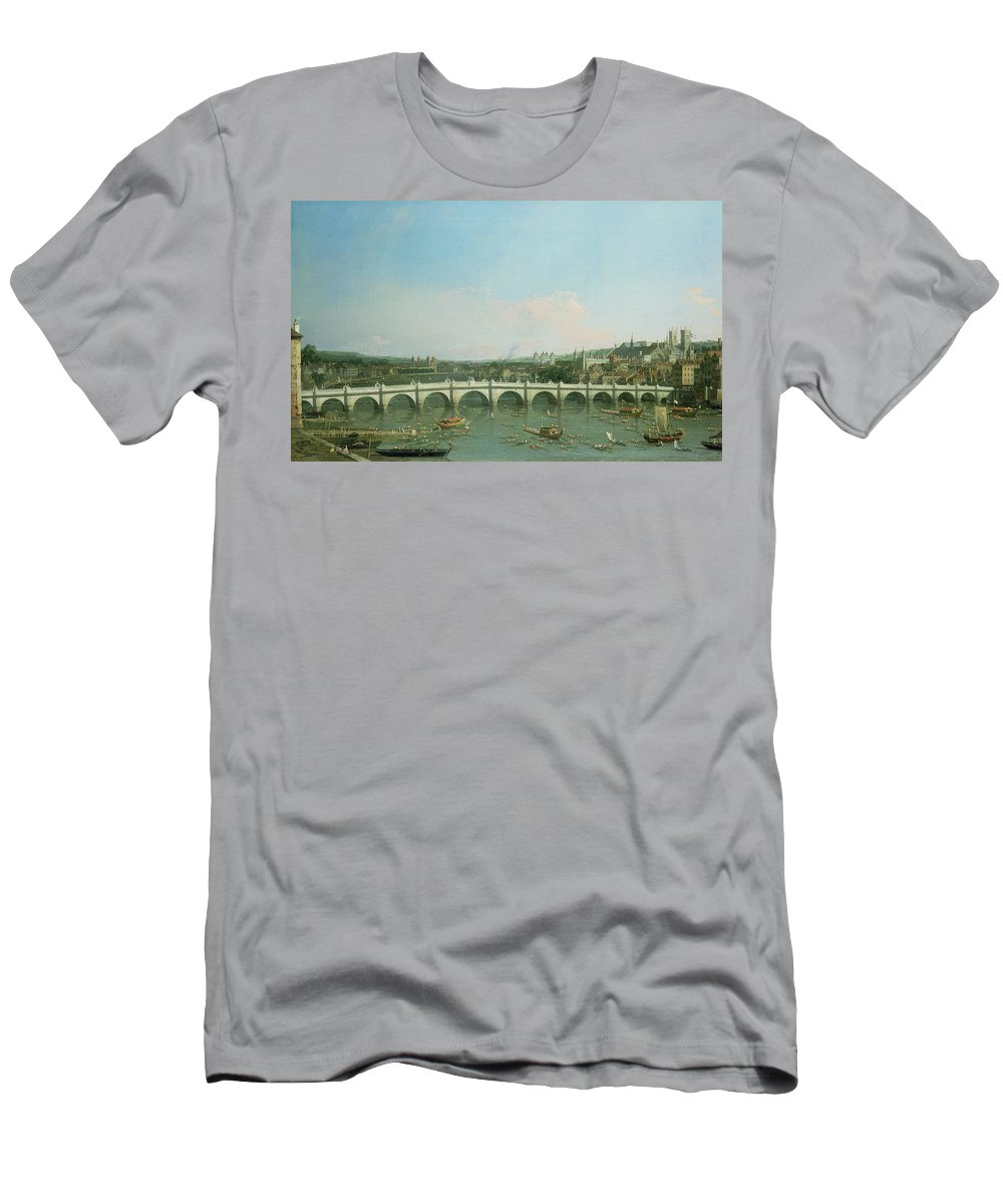 Canaletto Men's T-Shirt (Athletic Fit) featuring the painting Westminster Bridge From The North With Lambeth Palace In Distance by Canaletto