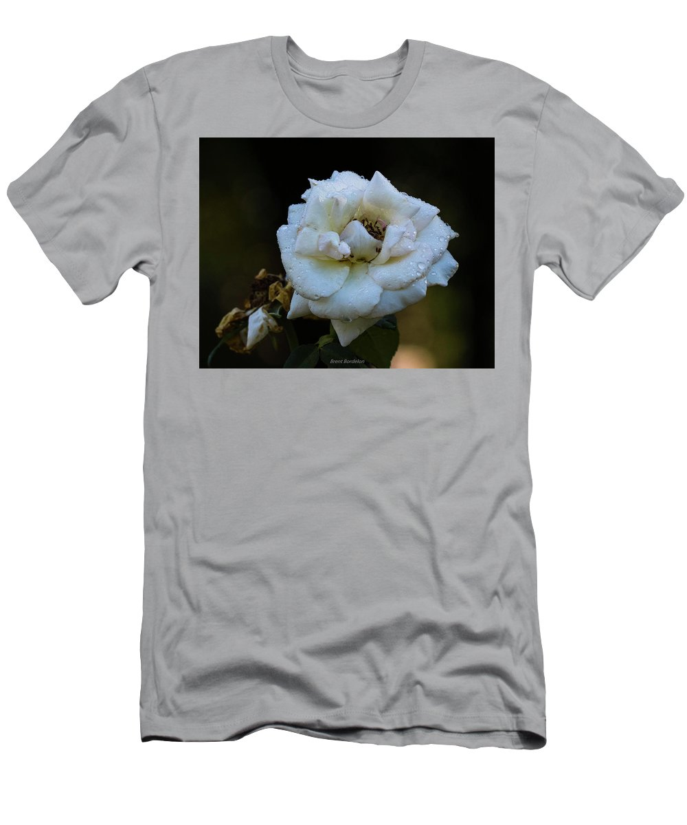 Rose Men's T-Shirt (Athletic Fit) featuring the photograph Wet Rose by Brent Bordelon