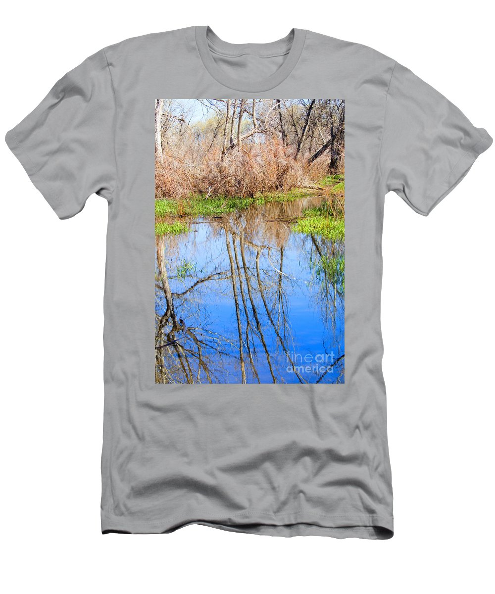 Wetlands Men's T-Shirt (Athletic Fit) featuring the photograph Wetlands Viewing Area In Chatfield State Park by Steve Krull
