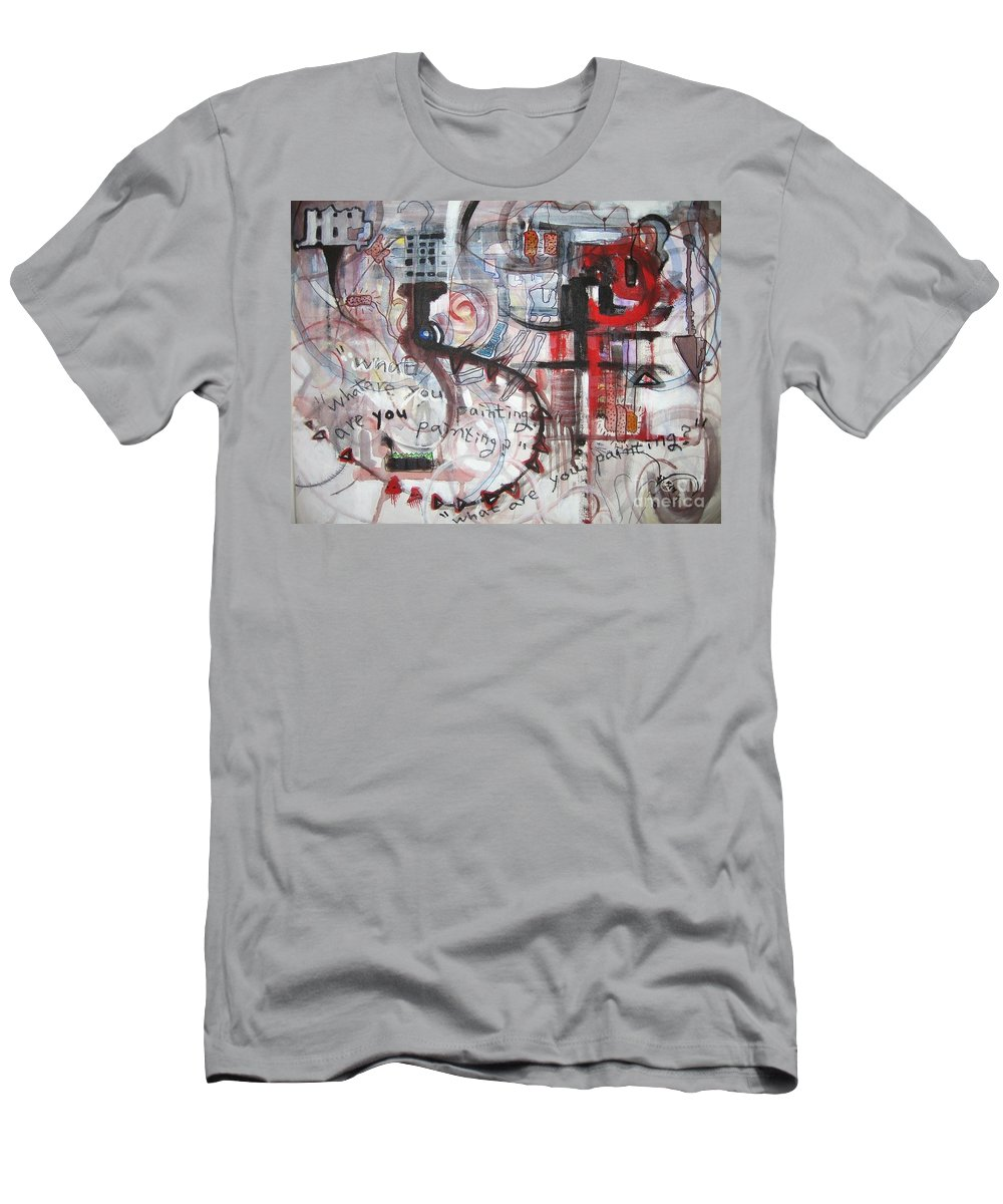 Abstract Paintings Men's T-Shirt (Athletic Fit) featuring the painting What Are You Painting-red And Brown Painting by Seon-Jeong Kim