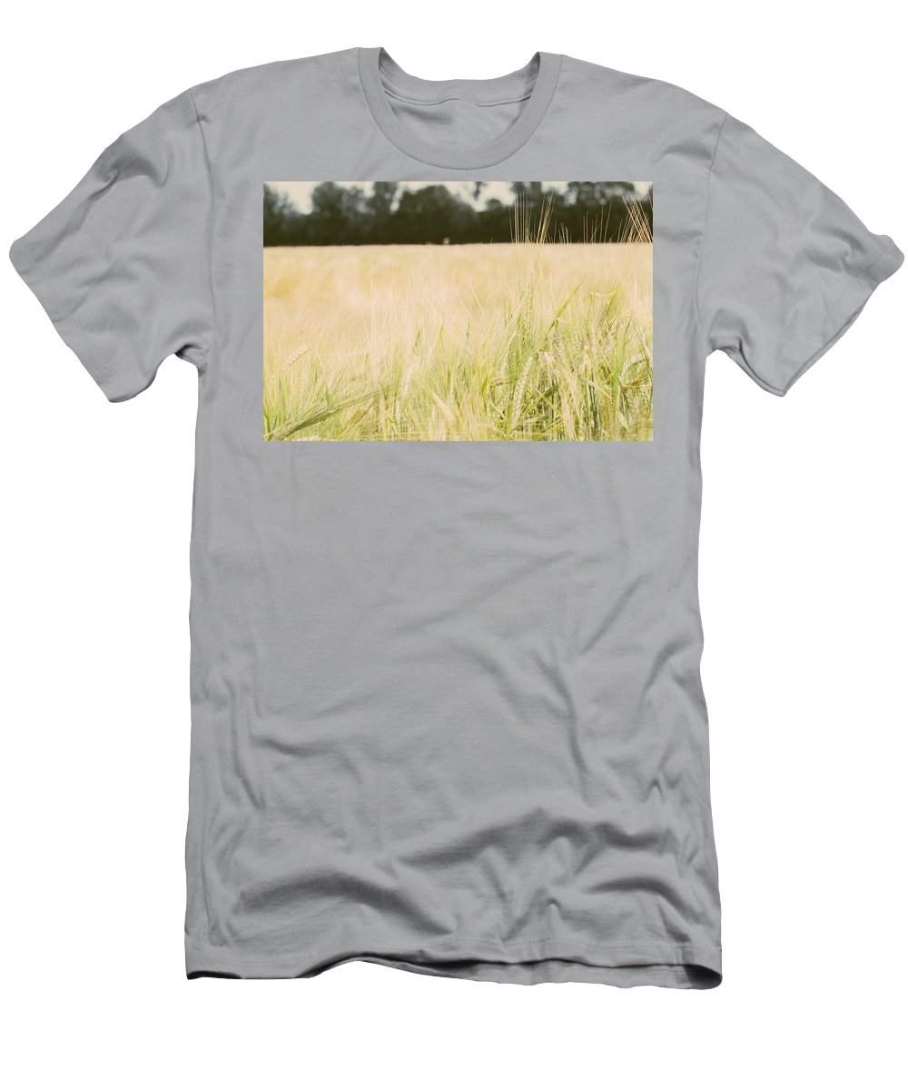 Wheat Men's T-Shirt (Athletic Fit) featuring the photograph Wheat Field Closeup by Pati Photography