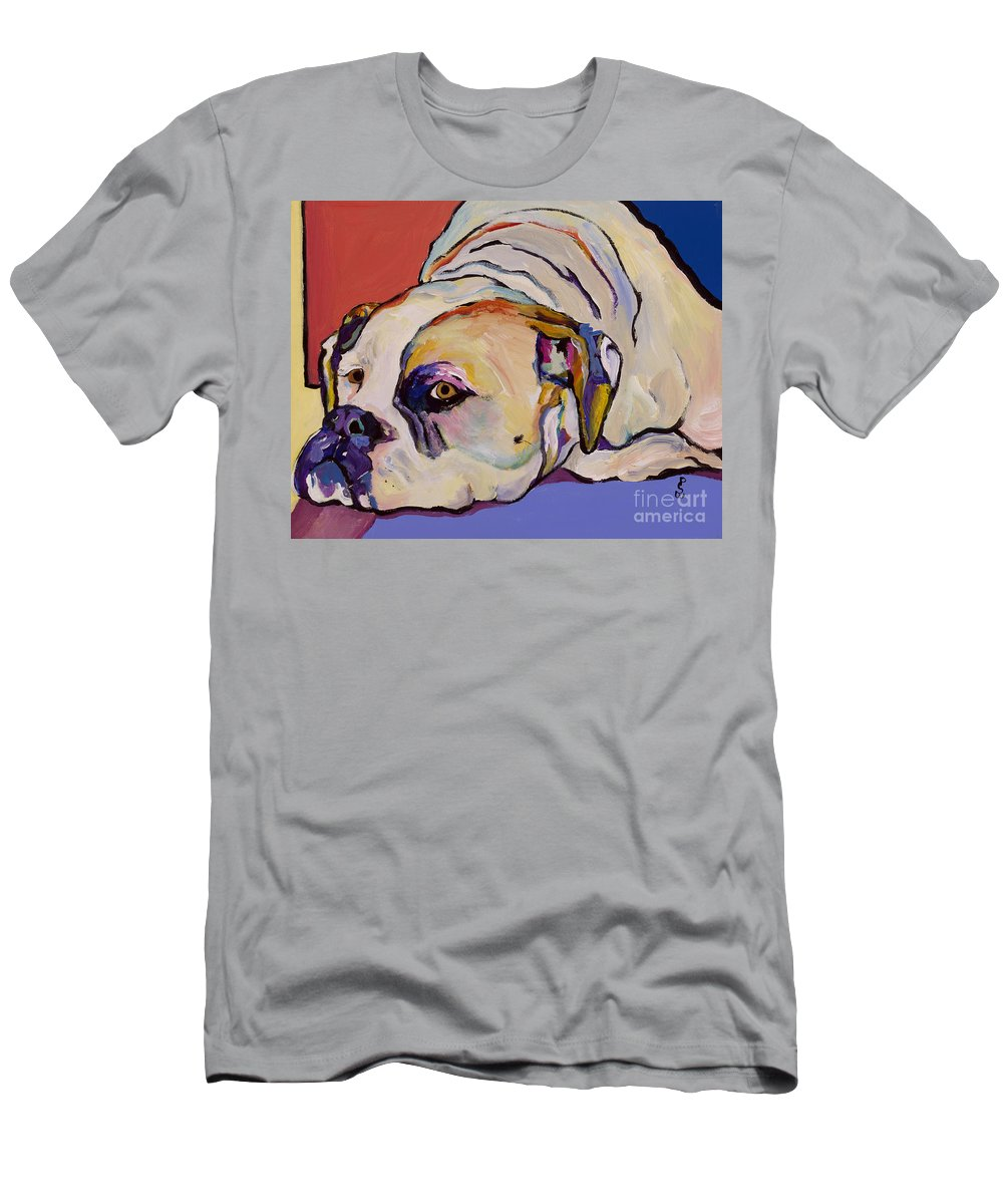 American Bulldog Men's T-Shirt (Athletic Fit) featuring the painting Where Is My Dinner by Pat Saunders-White