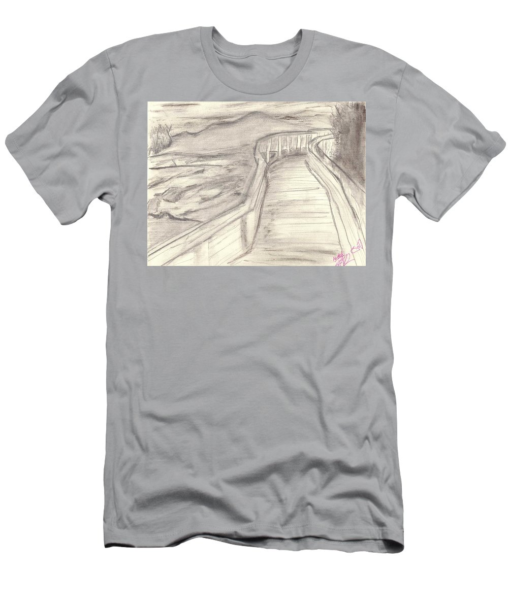 Fine Men's T-Shirt (Athletic Fit) featuring the drawing Where The Ashes Are by Seif Seif