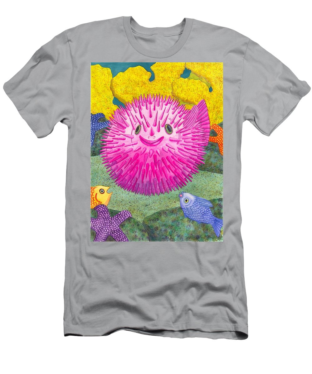 Puffer Fish Men's T-Shirt (Athletic Fit) featuring the painting Where's Pinkfish by Catherine G McElroy