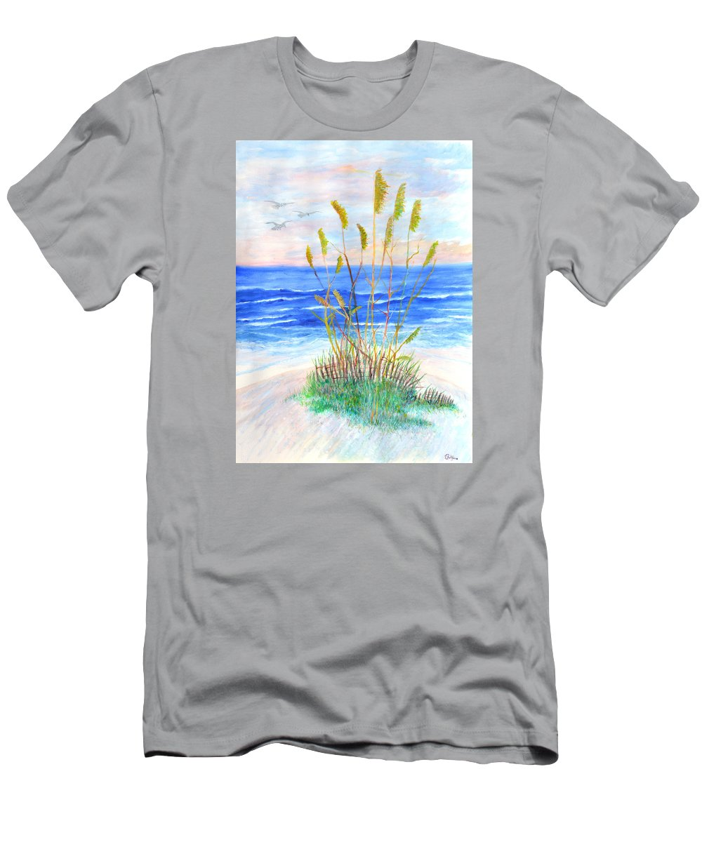 Sea Oats T-Shirt featuring the painting Whispering Sea Oats by Ben Kiger