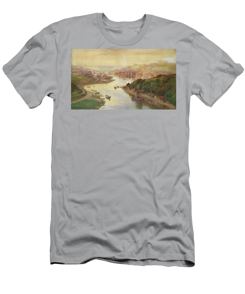 Whitby Men's T-Shirt (Athletic Fit) featuring the painting Whitby From Larpool by John Sowden