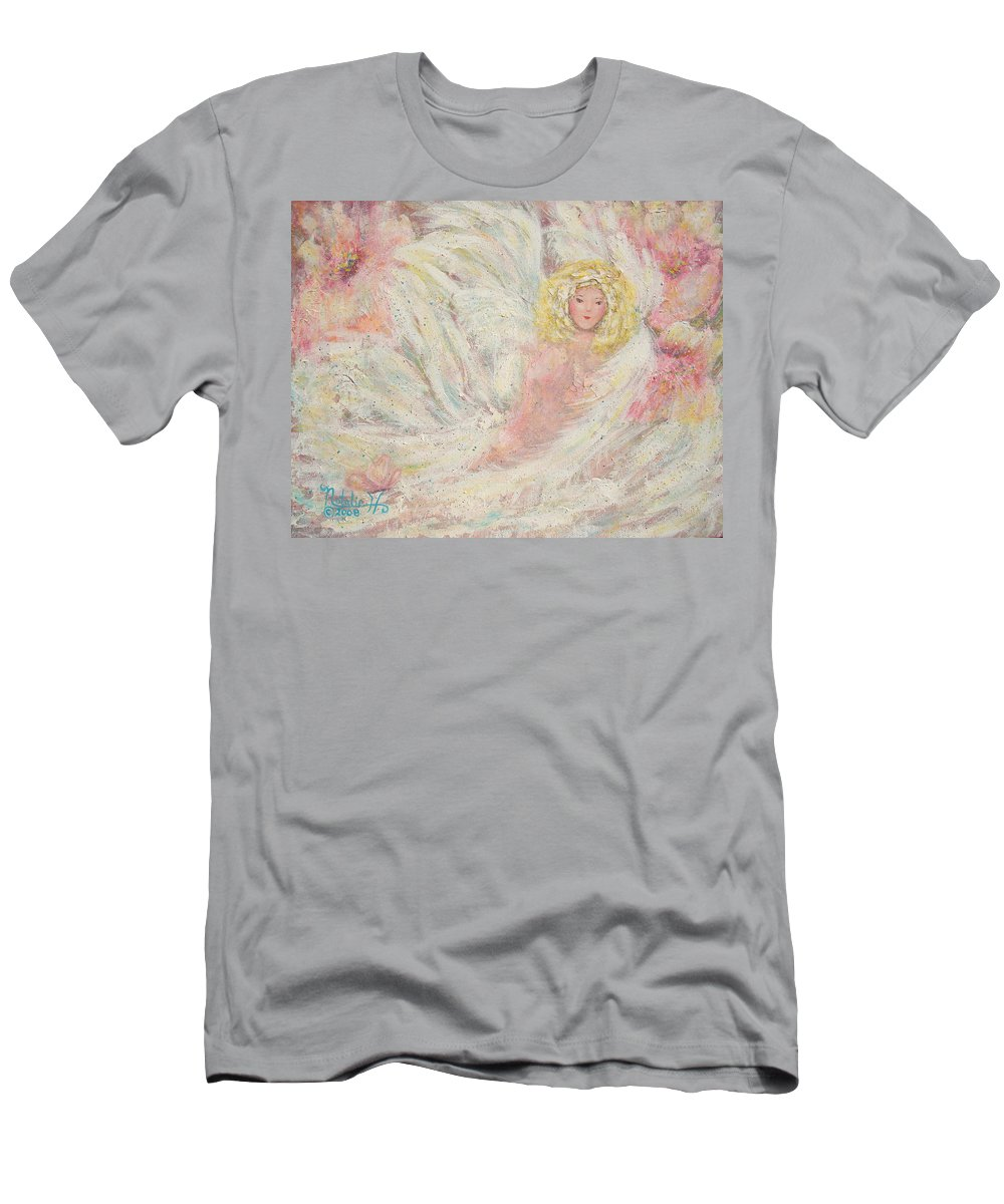 Angel Men's T-Shirt (Athletic Fit) featuring the painting White Feathers Secret Garden Angel 4 by Natalie Holland