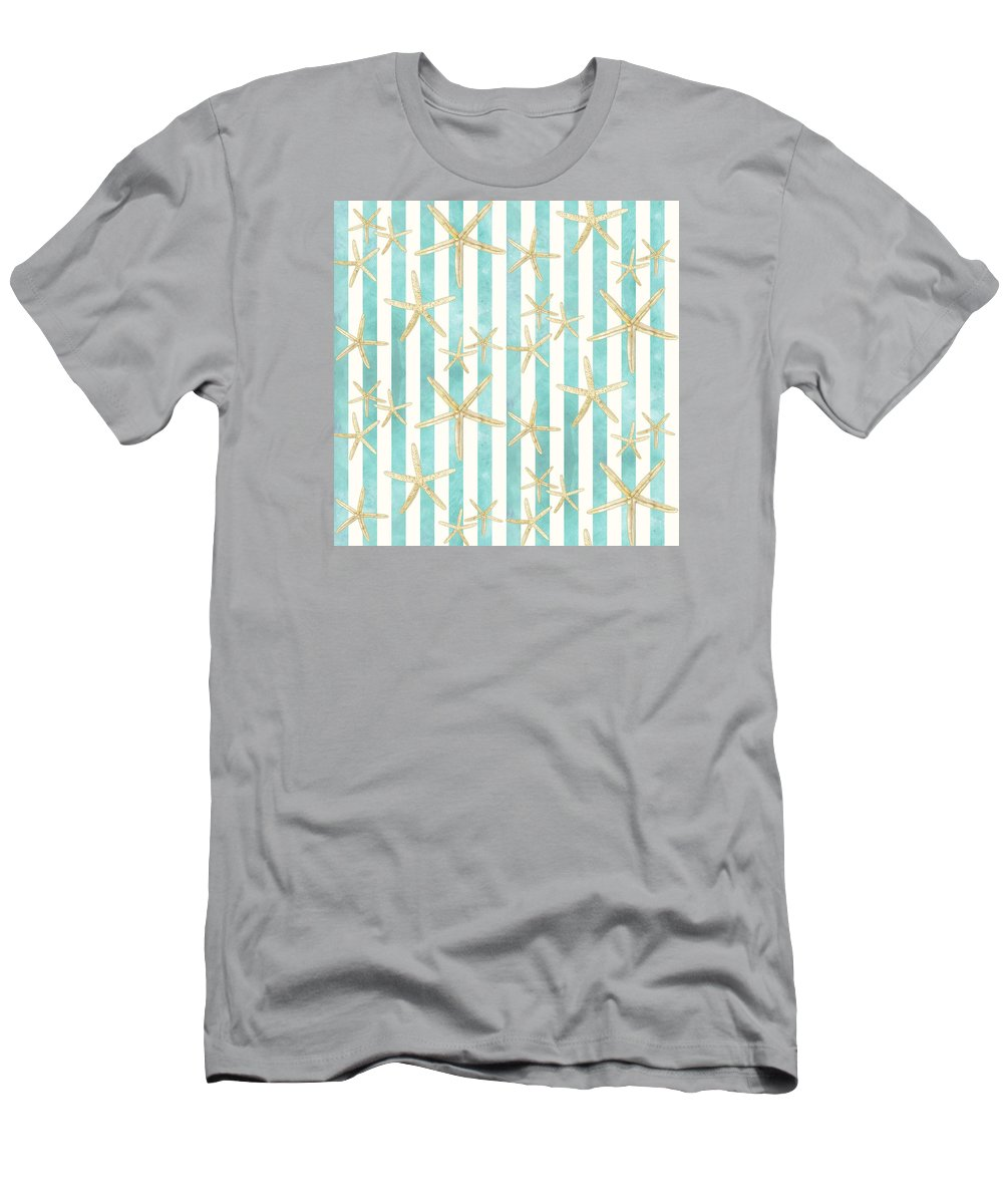 Watercolor T-Shirt featuring the painting White Finger Starfish Watercolor Stripe Pattern by Audrey Jeanne Roberts
