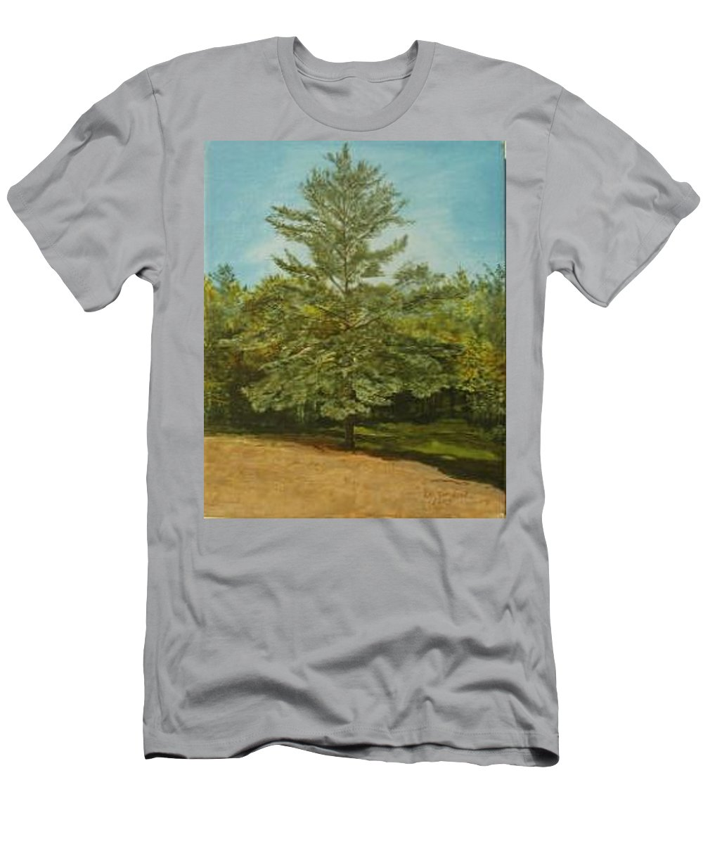 Pine Tree Men's T-Shirt (Slim Fit) featuring the painting White Lake by Leah Tomaino