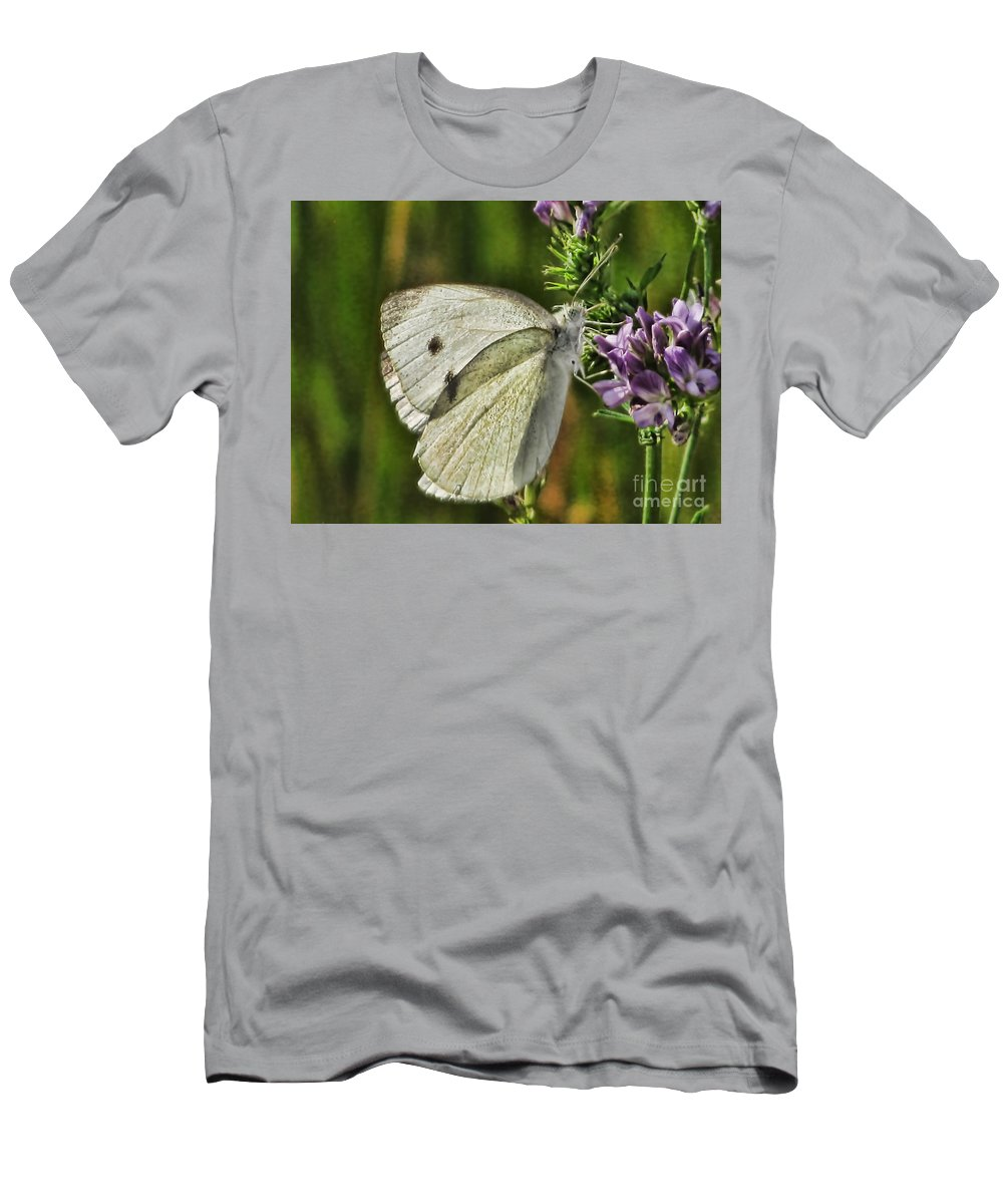 Butterfly Men's T-Shirt (Athletic Fit) featuring the photograph White On Purple by Steven Parker
