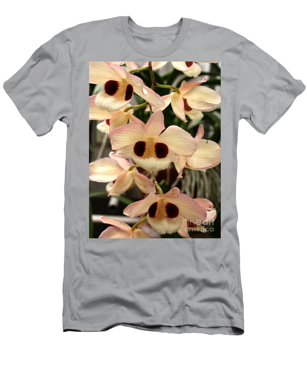Flowers Men's T-Shirt (Athletic Fit) featuring the photograph White Orchids With A Hint Of Pink by Carol Groenen