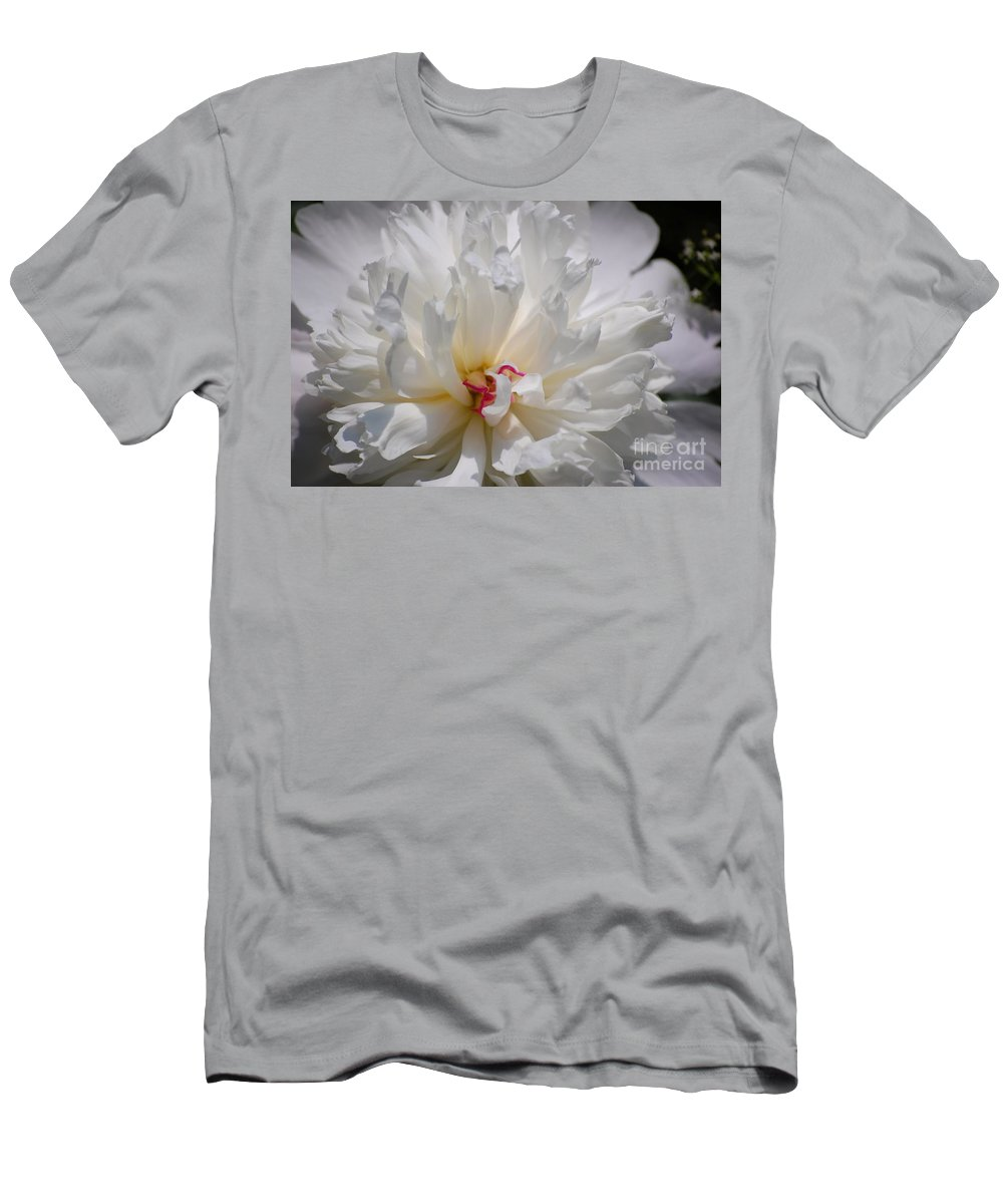 Digital Photography Men's T-Shirt (Athletic Fit) featuring the photograph White Peony by David Lane