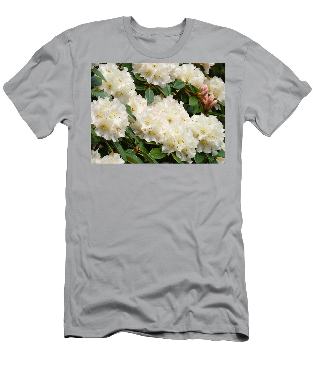 Rhodie Men's T-Shirt (Athletic Fit) featuring the photograph White Rhodies Landscape Floral Art Prints Canvas Baslee Troutman by Baslee Troutman