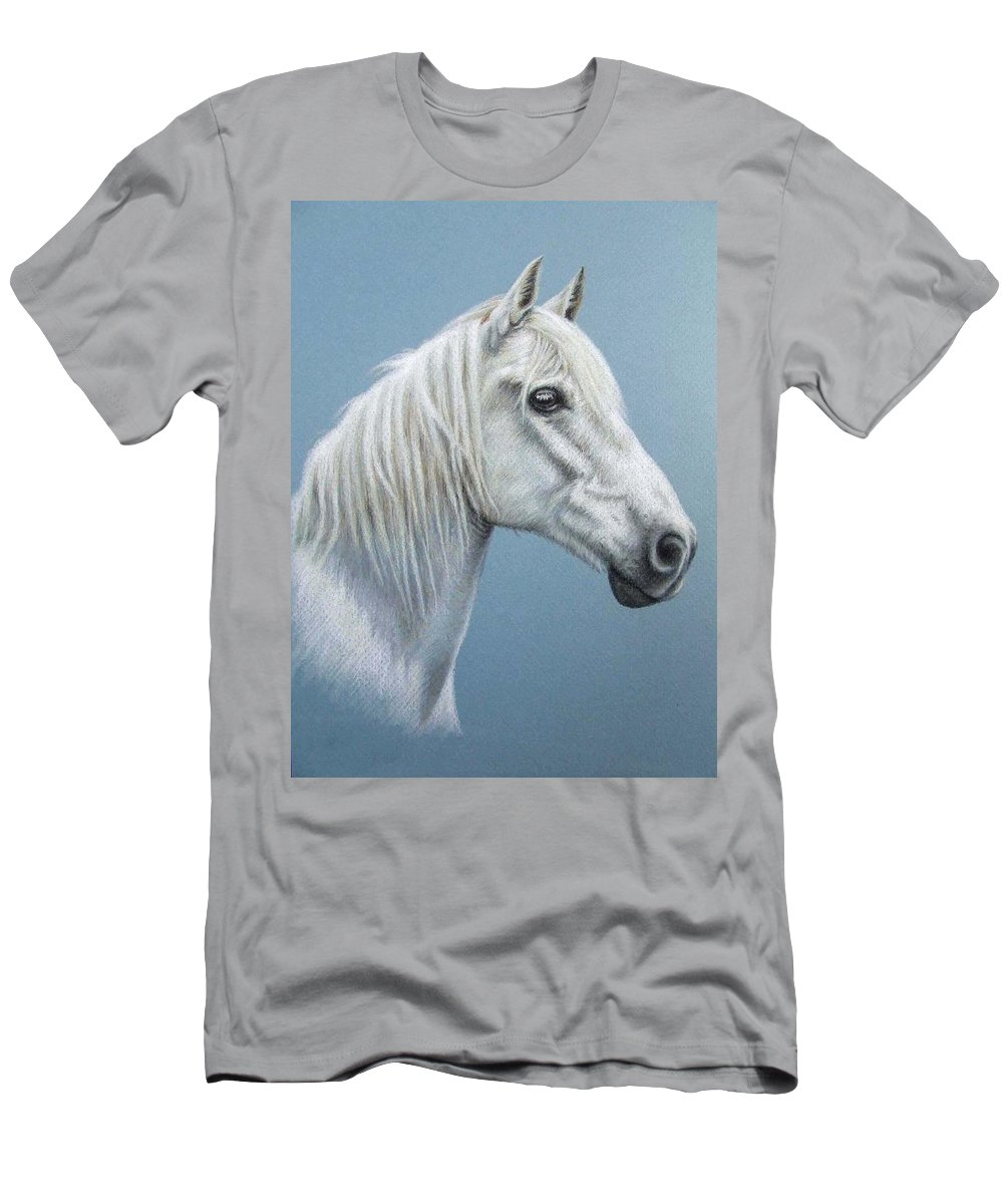 Horse Stallion White Pferd Portrait Animal Realism Pastel Men's T-Shirt (Athletic Fit) featuring the pastel White Stallion by Nicole Zeug