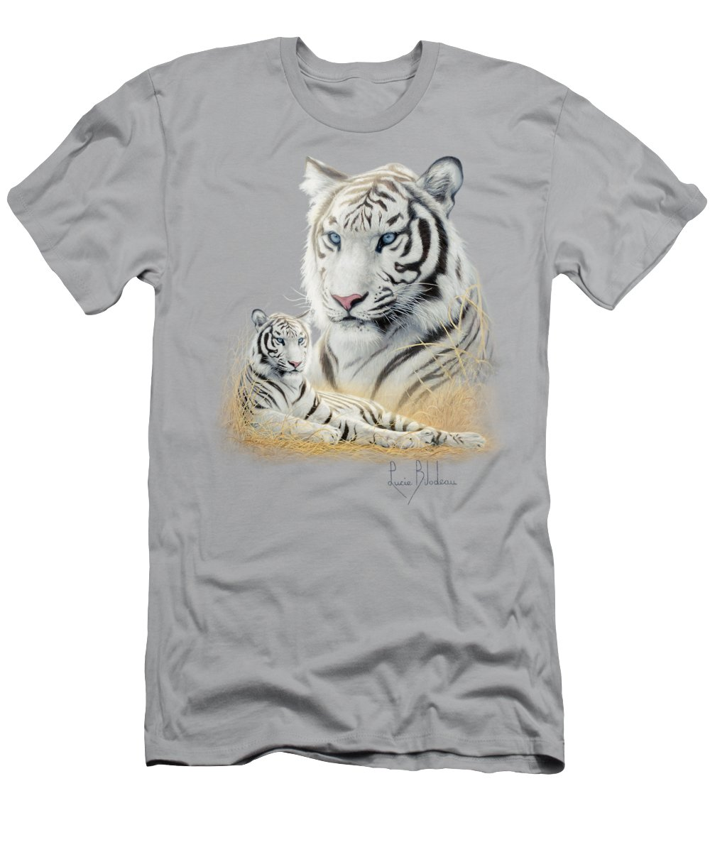 Tiger Men's T-Shirt (Athletic Fit) featuring the painting White Tiger by Lucie Bilodeau
