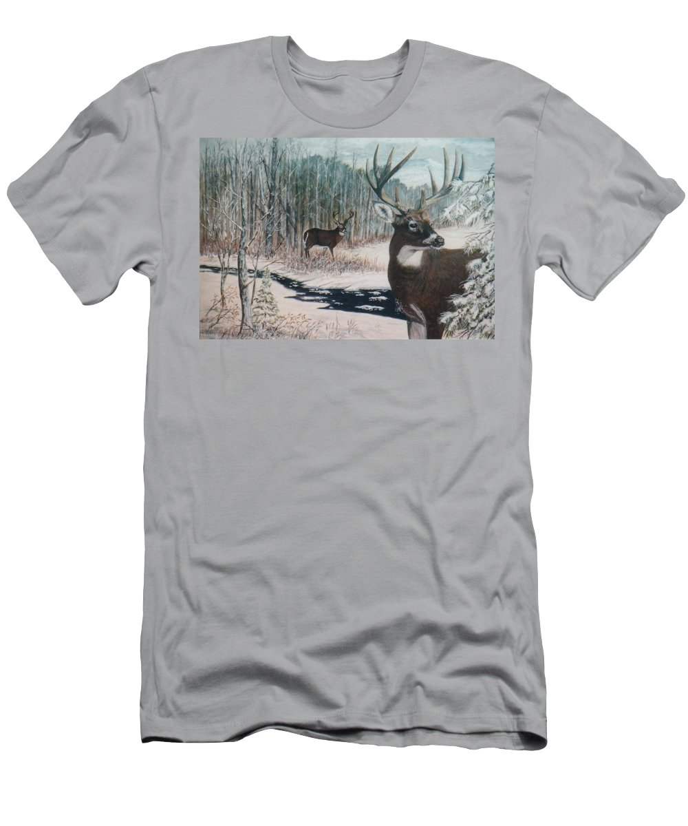 Deer; Snow; Creek Men's T-Shirt (Athletic Fit) featuring the painting Whitetail Deer by Ben Kiger
