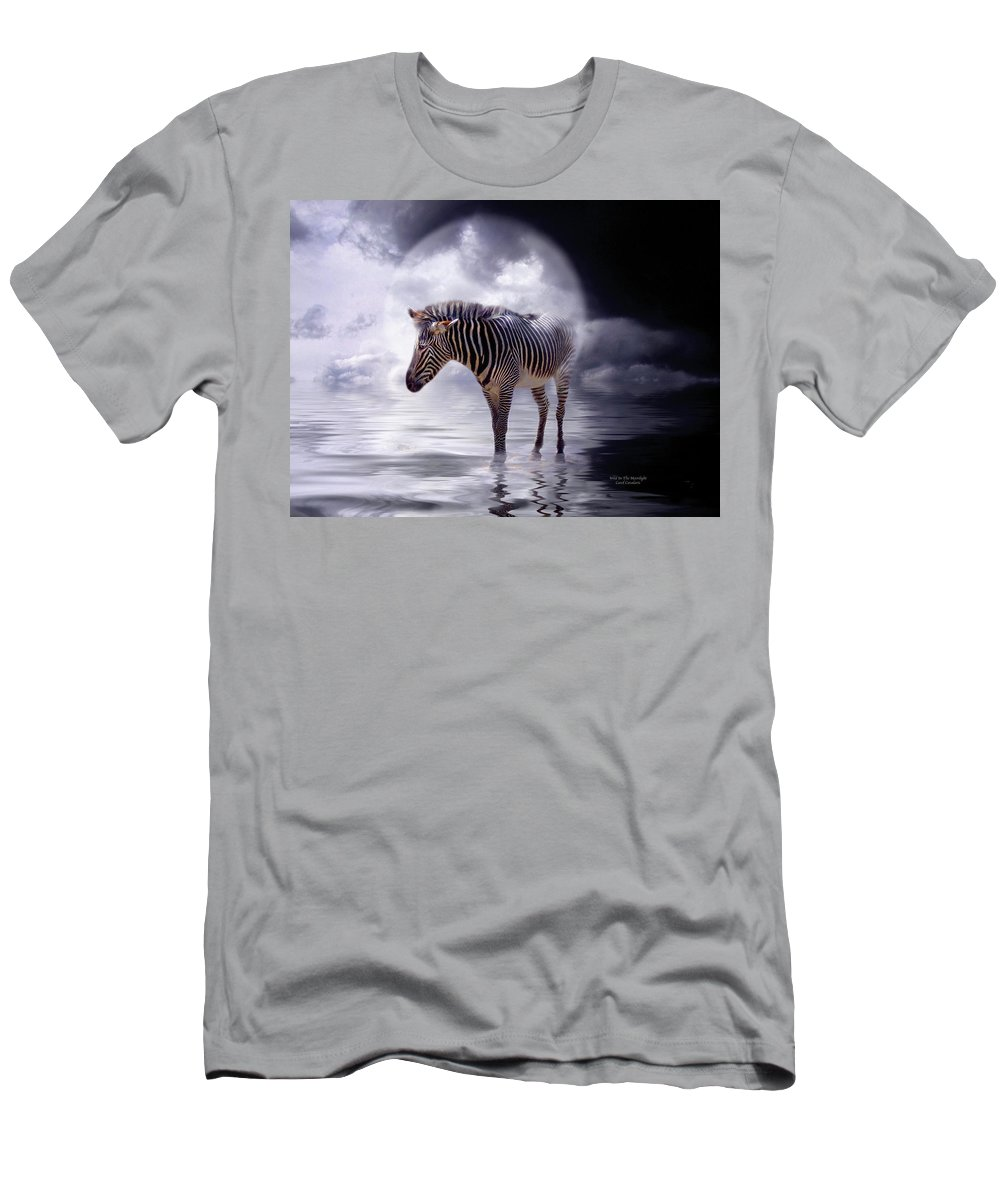 Zebra Men's T-Shirt (Athletic Fit) featuring the mixed media Wild In The Moonlight by Carol Cavalaris