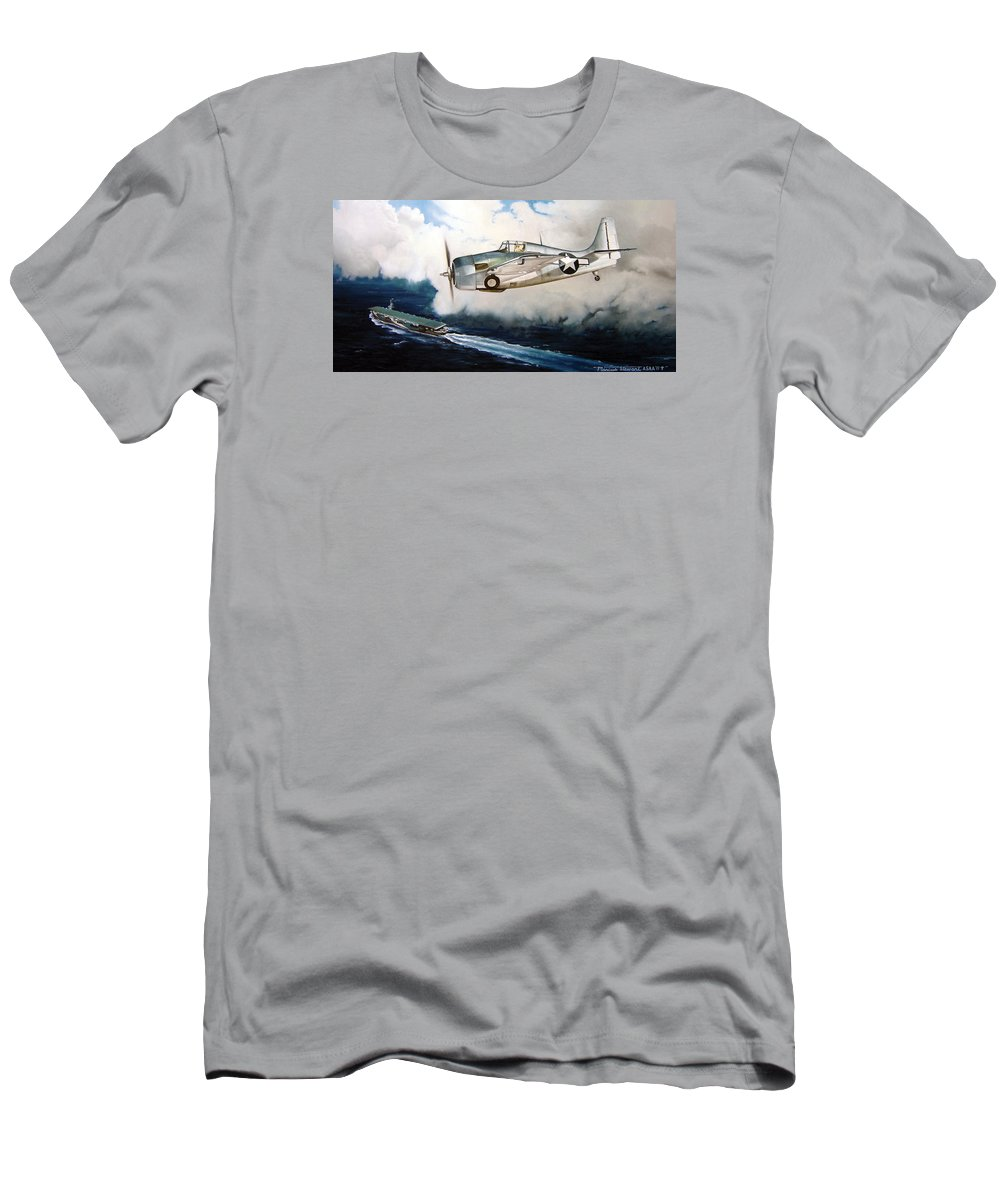 Wwii Men's T-Shirt (Athletic Fit) featuring the painting Wildcat Home by Marc Stewart