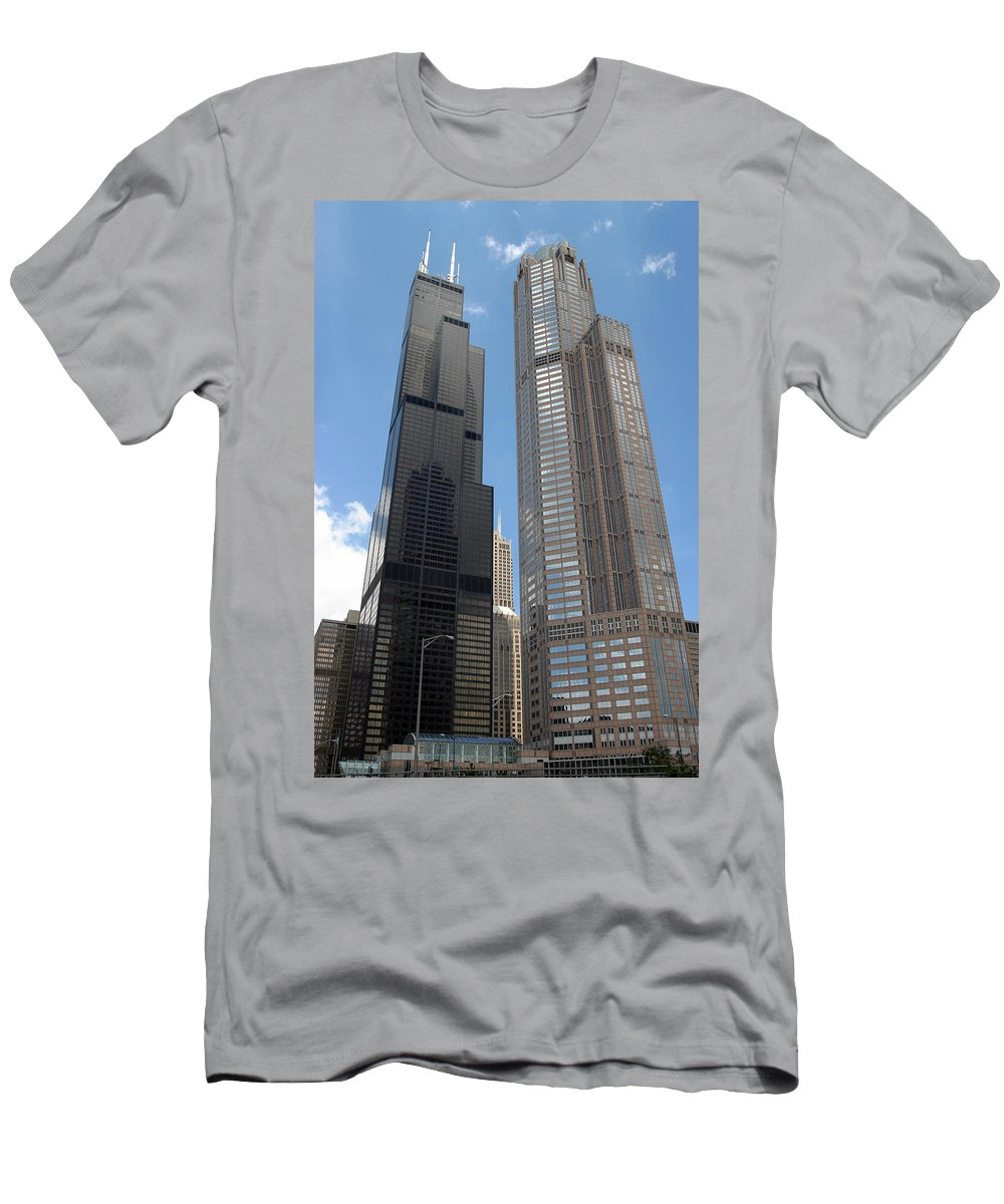 3scape Photos Men's T-Shirt (Athletic Fit) featuring the photograph Willis Tower Aka Sears Tower And 311 South Wacker Drive by Adam Romanowicz